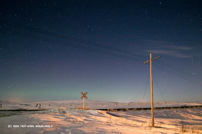 Nocturnal Prairie Winter Scene Chaplin, Saskatchewan Canada