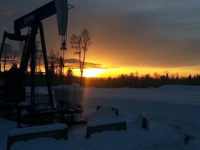 Sunrise in the Pembina Oilpatch Lodgepole, Alberta Canada