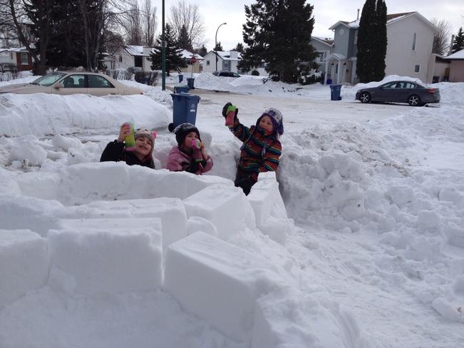 Hot chocolate and snow forts. Winnipeg, Manitoba Canada