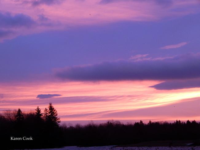 Pink skies Kingston, Nova Scotia Canada
