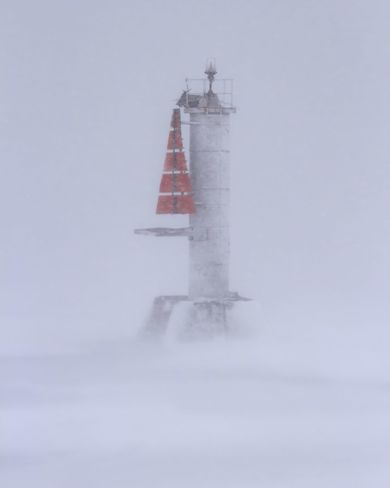 Gosport (Brighton) beacon in blinding snowstorm Brighton, Ontario Canada