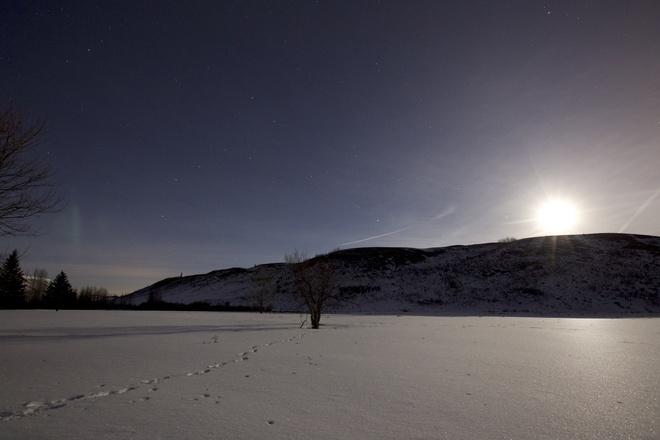 Aurora glimpse during moonlight on snow Calgary, Alberta Canada