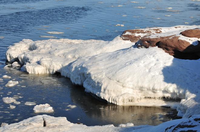 Lot of ice. Cap-Pele, New Brunswick Canada