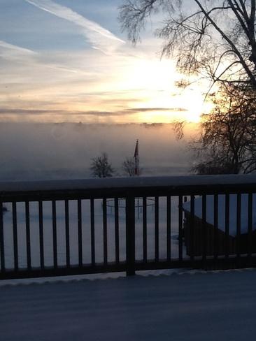 beautiful fog morning Owen Sound, Ontario Canada