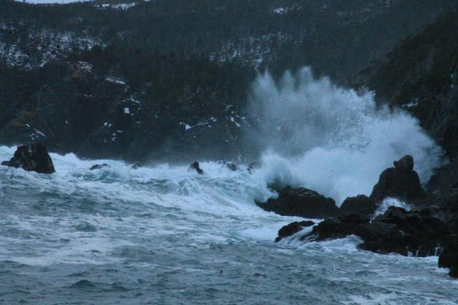 when the sea hits the shore Rock Harbour, Newfoundland and Labrador Canada