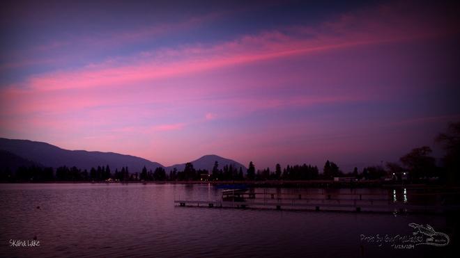 Sunset over Skaha Lake Penticton, British Columbia Canada