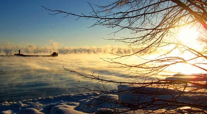 Fire on Lake Ontario Port Credit, Ontario Canada