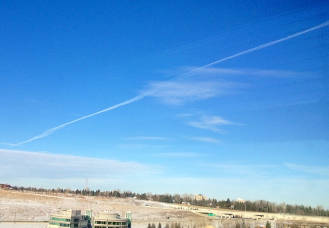Chemtrail forming Chemclouds Calgary, Alberta Canada