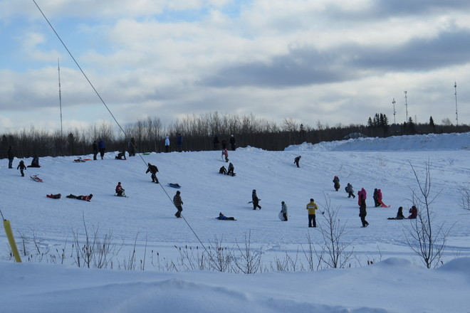 Sliding downhill Timmins, Ontario Canada