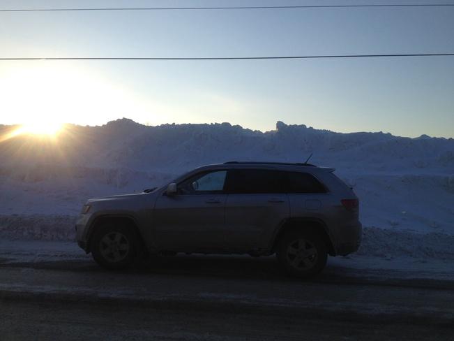 massive snow bank Murillo, Ontario Canada