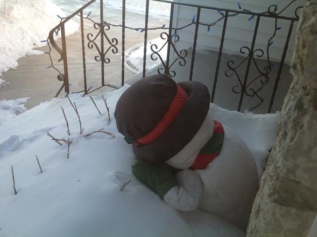 Fed up snowman Winnipeg, Manitoba Canada