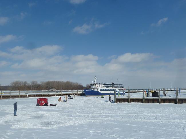 Ice-fishing at Lakeview Marina Windsor, Ontario Canada