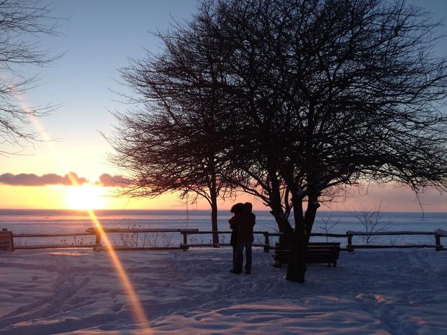 Frozen Lake Huron at sunset Bayfield, Ontario Canada