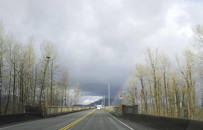 Rainbow - Highway 9 over Frazer River Agassiz, British Columbia Canada