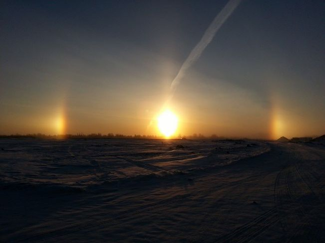 Sundogs at Sunrise Saskatoon, Saskatchewan Canada