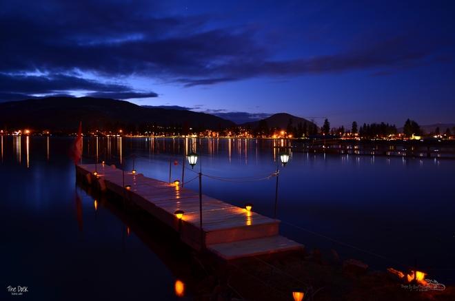 Dock at night Skaha Lake Penticton Penticton, British Columbia Canada