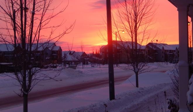 Purple winter twilight Markham, Ontario Canada