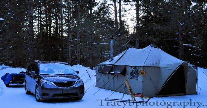 Winter Camping. Port Dover, Ontario Canada