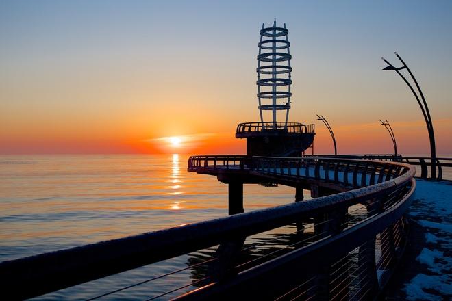 Sunrise on the pier Burlington, Ontario Canada