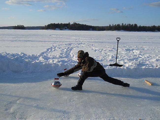 Curling on Eel's Lake Bancroft, Ontario Canada