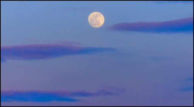 Rising full moon over Elliot Lake. Elliot Lake, Ontario Canada