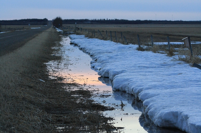 Spring melt Tofield, Alberta Canada
