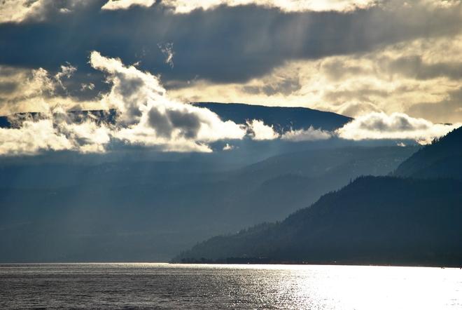 Sundown Clouds Over The Okanagan South Kelowna, British Columbia Canada