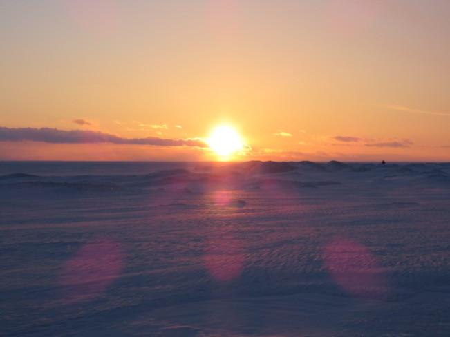 frozen notawasaga bay sunset Tiny, Ontario Canada