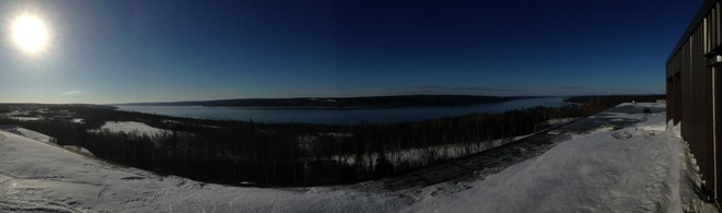 frozen lake Gander, Newfoundland and Labrador Canada
