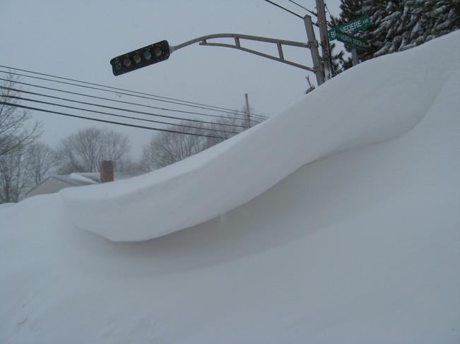 Snow drift on North River Rd. Charlottetown, Prince Edward Island Canada