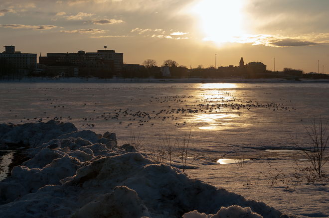 Sun over River and City Fredericton, New Brunswick Canada