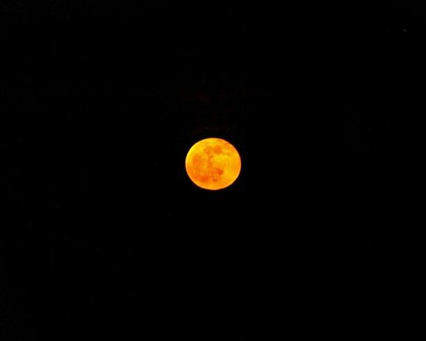Red Moon Cloudy Night Oyen, Alberta Canada