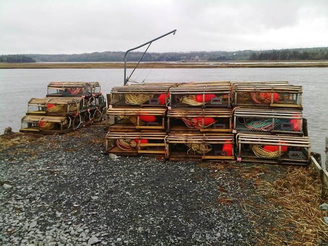 Gearing up for lobster season Musquodoboit Harbour, Nova Scotia Canada