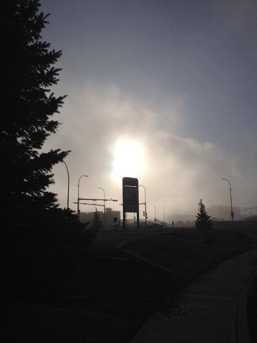 sunny foggy morning Lethbridge, Alberta Canada