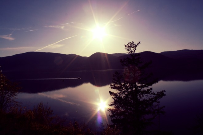 Sunset over Okanagan Lake Vernon, British Columbia Canada