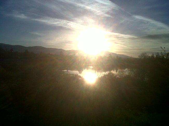 Blinding star before setting. Comox Valley, British Columbia Canada