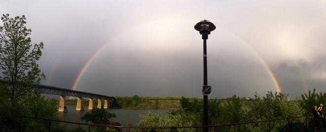 Rainbow after the storm Saskatoon, Saskatchewan Canada