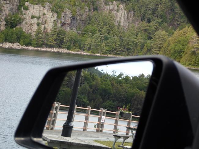 Side View Mirror/Planter Lake Horne/Rock across water Elliot Lake, Ontario Canada