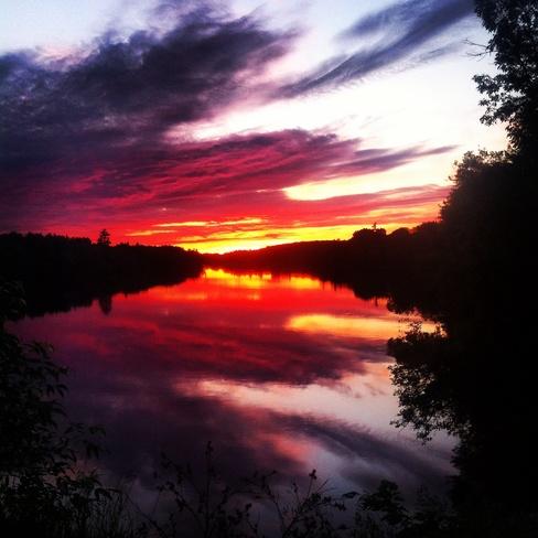 Sunset at Dean Lake Bridge Iron Bridge, Ontario Canada