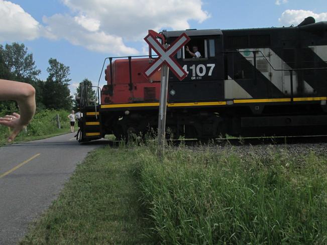 Train Rumbles Over Bicycle Trail in Greenbelt near Kanata in Ottawa Watts Creek Pathway, Nepean, ON K2K 2Y5, Canada