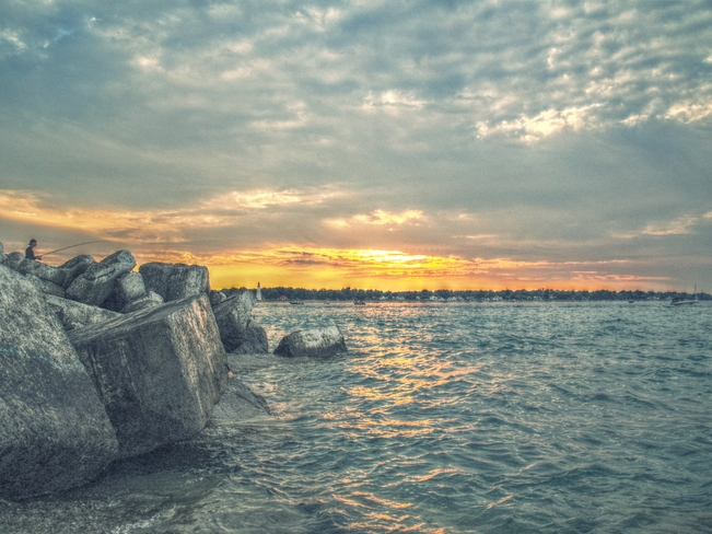 fishing at sunset Sarnia, ON