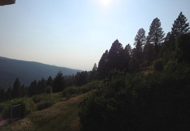 smoke in the valley Black Mountain, British Columbia Canada