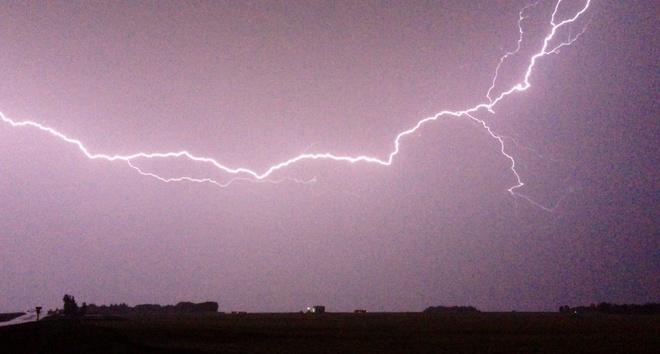 Cloud to Cloud Lightning Red Deer, Alberta Canada
