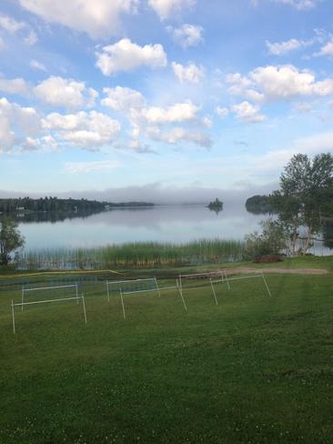 fog before the triathlon Sioux Lookout, Ontario Canada