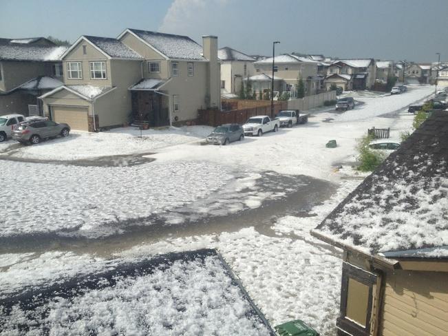 crazy hail storm Airdrie, Alberta Canada