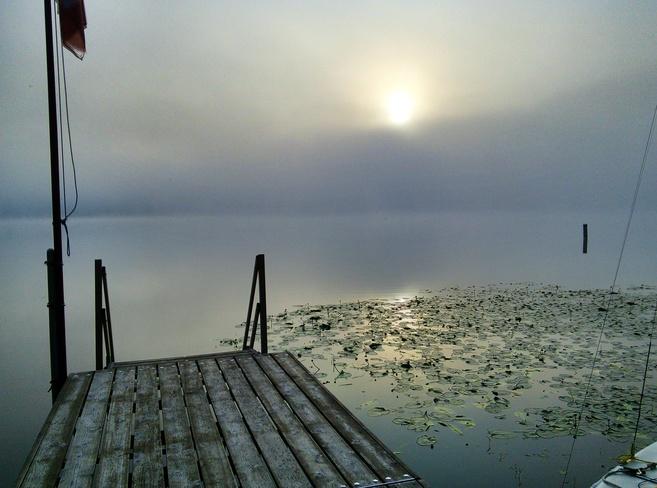 Crimson Lake Misty Morning Crimson Lake Provincial Park, Alhambra, AB