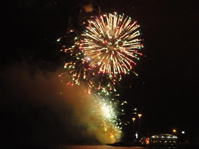 Fireworks up in the Sky Sydney, Nova Scotia Canada