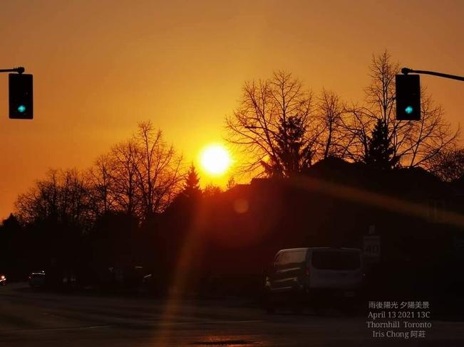 Golden sunset after rain shower 13C Thornhill - April 13 2021 Thornhill, ON