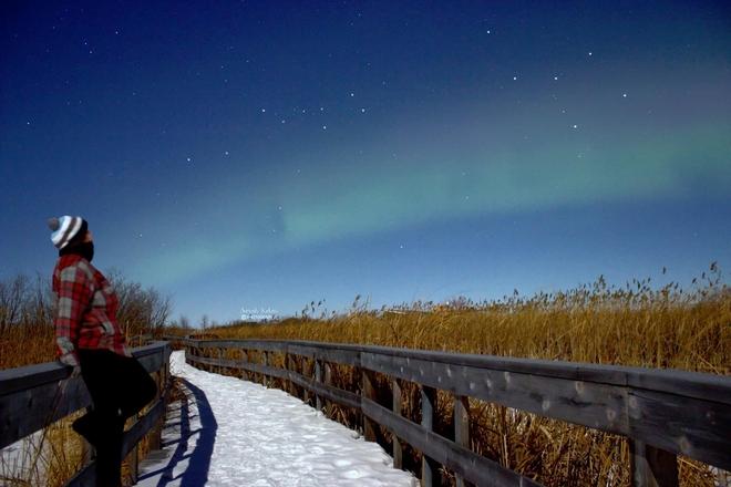 Selfie looking at the beautiful northern lights Winnipeg, Manitoba, CA
