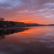 Sunset Reflection In Lake